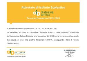 """L'Associazione Italiana Dislessia conferisce all'I. I. S. """"M. T. Cicerone"""" il titolo di """"Scuola Dislessia Amica"""""""